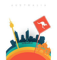 Travel australia 3d paper cut world landmarks vector