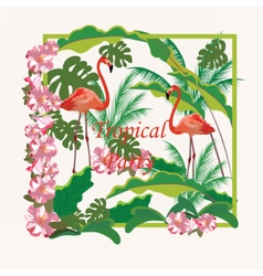 Tropical flamingo birds and flowers background vector