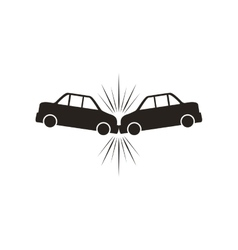 Car accident silhouette vehicle insurance icon vector