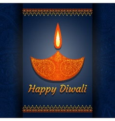 Greeting card for diwali festival celebration in i vector