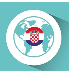 Croatia flag pin world map icon design vector