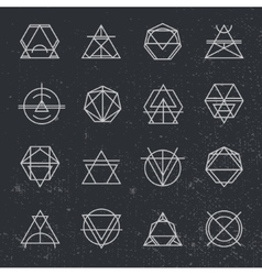 Set of retro vintage hipster insignias and vector