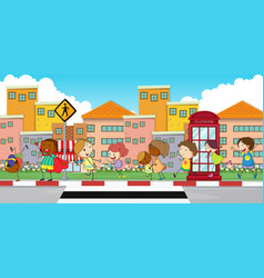 Happy children walking on sidewalk vector