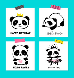 cute panda bears simple style cards posters vector image