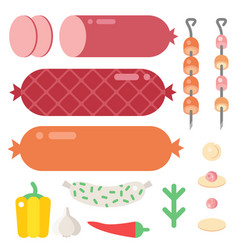 Meat products ingredient and rustic elements vector