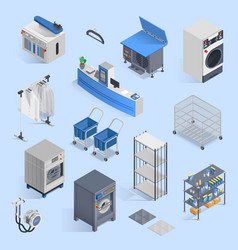 Dry cleaning and laundry service isometric set vector