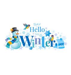 Winter logo snowman winrty vector