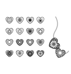 Ornamental heart symbols vector