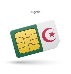 Algeria mobile phone sim card with flag vector