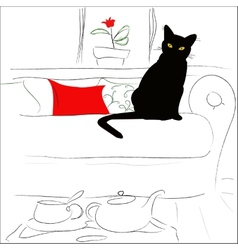 Cat on the bed vector