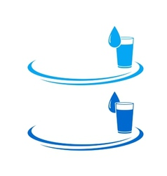 Water glass icon with drop vector