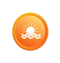 Sun and sea button vector