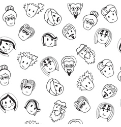 Hand drawn seamless pattern with cute faces vector