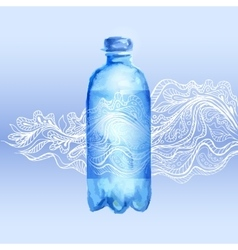 Transparent bottle of water vector