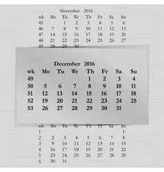 Calendar month for 2016 pages december start vector
