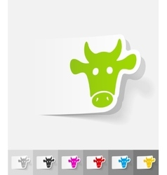 Realistic design element muzzle cow vector
