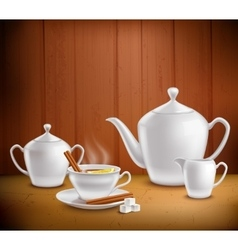 Tea set composition vector