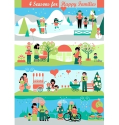 Banners set with people and seasons landscapes vector
