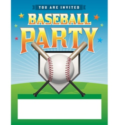 Baseball party flyer vector