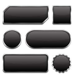 Black Buttons with Metallic Frame vector image vector image