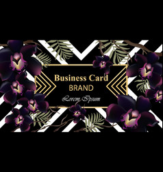 black orchid flowers card beautiful vector image vector image