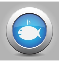 Blue metal button - grilling fish vector