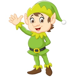 Cartoon cute christmas elf waving hand vector