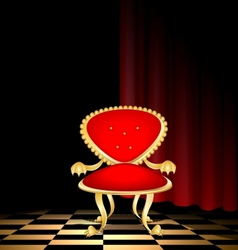chair in a dark room vector image vector image