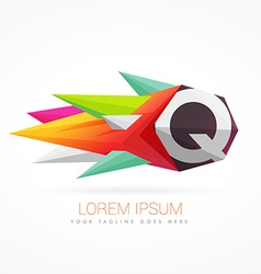 colorful abstract logo with letter Q vector image