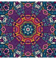 Colorful floral ethnic tribal pattern vector