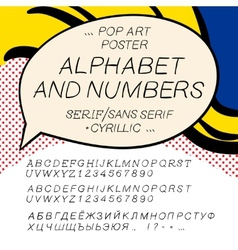 Comics pop art alphabet and numbers vector image