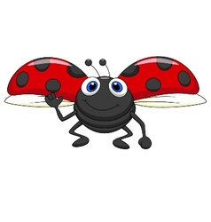 Cute ladybug cartoon flying vector