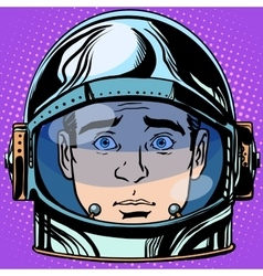 Emoticon surprise emoji face man astronaut retro vector