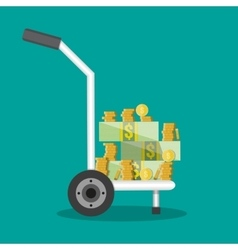 hand truck full of money and coins vector image vector image