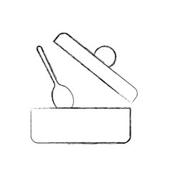 Kitchen pot with spoon vector