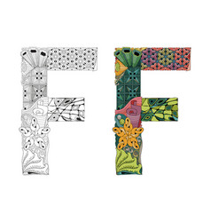 letter f zentangle for coloring decorative vector image vector image