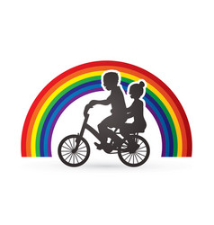 Little boy and girl are biking graphic vector