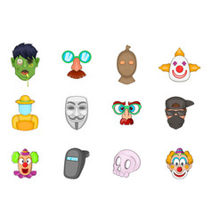 mask icon set cartoon style vector image