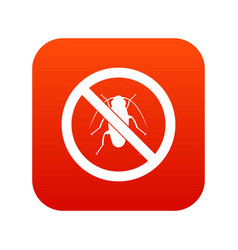 No cockroach sign icon digital red vector