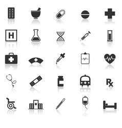 Pharmacy icons with reflect on white background vector