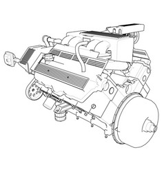 powerful car engine the engine is drawn with vector image vector image