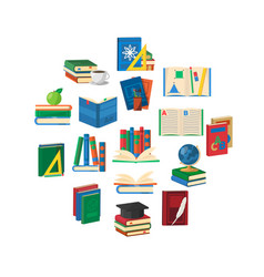 School books round composition vector