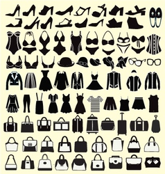 set of Fashion woman clothing and accessories vector image vector image