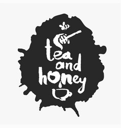 tea and honey in an ink blot vector image vector image