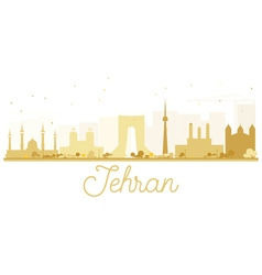 Tehran city skyline golden silhouette vector