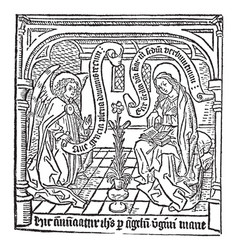 the annunciation vintage vector image vector image