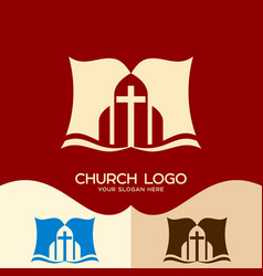 The bible and the cross of jesus christ vector