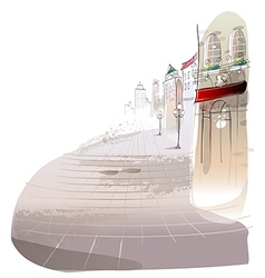 Town Streets Sketch Scene vector image vector image