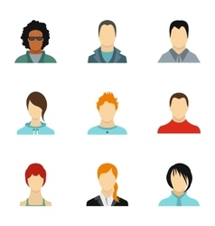 Types of avatar icons set flat style vector