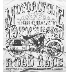 Vintage motorcycle tee graphic design vector